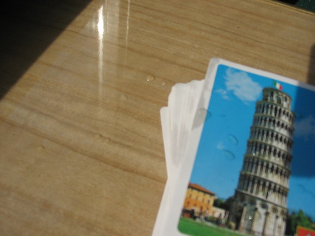 Italy: Some of the tea that was spit all over the place...it was spit on the cards on accident as well