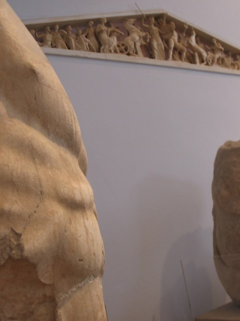 Greece: Zeus' chest remains and a minature of the top part of the parthenon