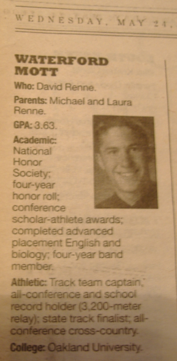 Me in the paper for that award.