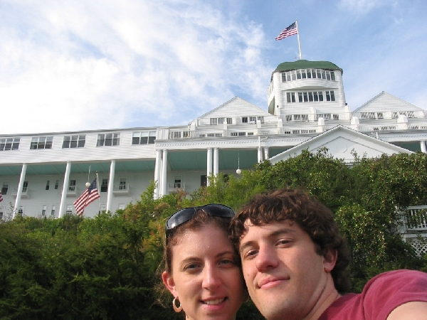 Us two in front of the hotel