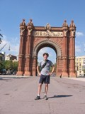 Spain: Me in front of the replica of the Arc De Triumph
