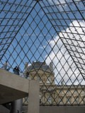 France: The center of the Louvre looking up through the pyramid