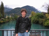 Switzerland: Me in front of the teal water front in Interlachen
