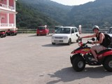 Greece: Matt on the ATV and me saying goodbye to him