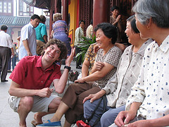 Shanghai - Old farm ladies interacting with me and the professor (They liked my hair)